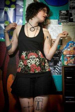 Sew Creepy ® Racerback with Rose Tattoo Pockets by Beaks of Eagles