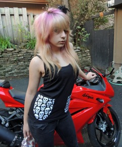 Dani in Racerback with Skull Pockets for Beaks of Eagles - Sew Creepy ®